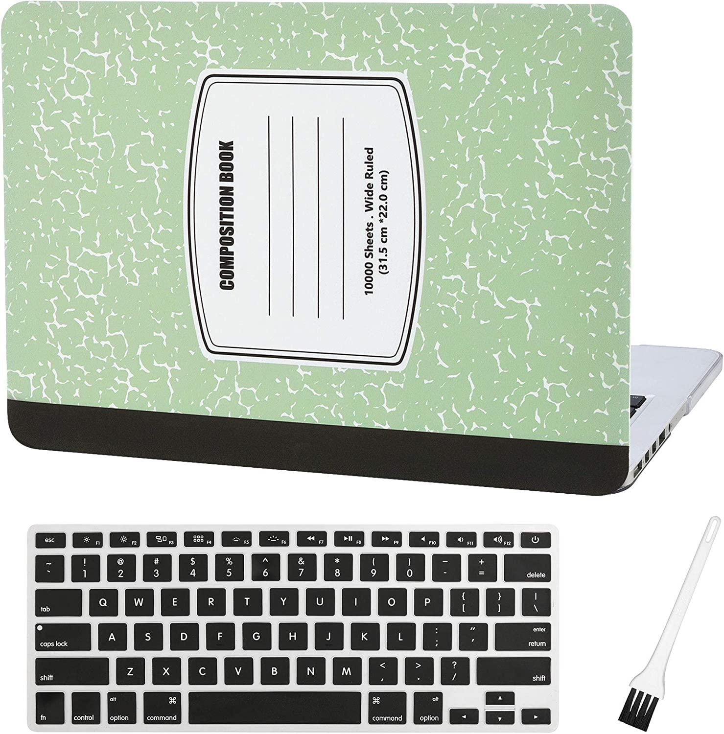 MacBook Pro 13 inch Case Cover A1502 A1425 Plastic Laptop Hard Shell Cover Sleeve Matte Rubberized (2012 2013 2014 2015 Release) with Silicone Keyboad Cover and Dust Brush(Notebook Pattern-Green)