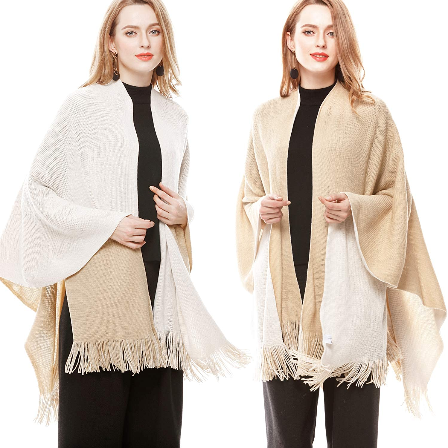 Lovful Women's Winter Cashmere Feel Poncho Open Front Blanket Capes Shawl Cardigans Sweater Coat