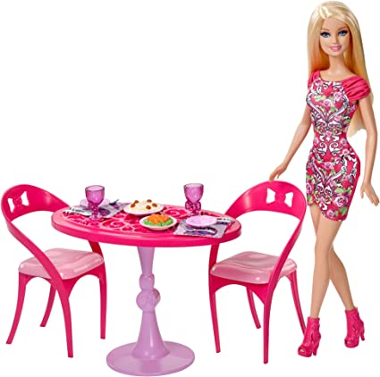 Amazon Com Barbie Doll And Dining Room Set Toys Games