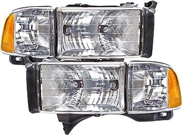 Amazon Com Headlightsdepot Chrome Housing Halogen Headlights Compatible With Dodge Ram Sport 1500 2500 3500 Includes Left Driver And Right Passenger Side Headlamps Automotive