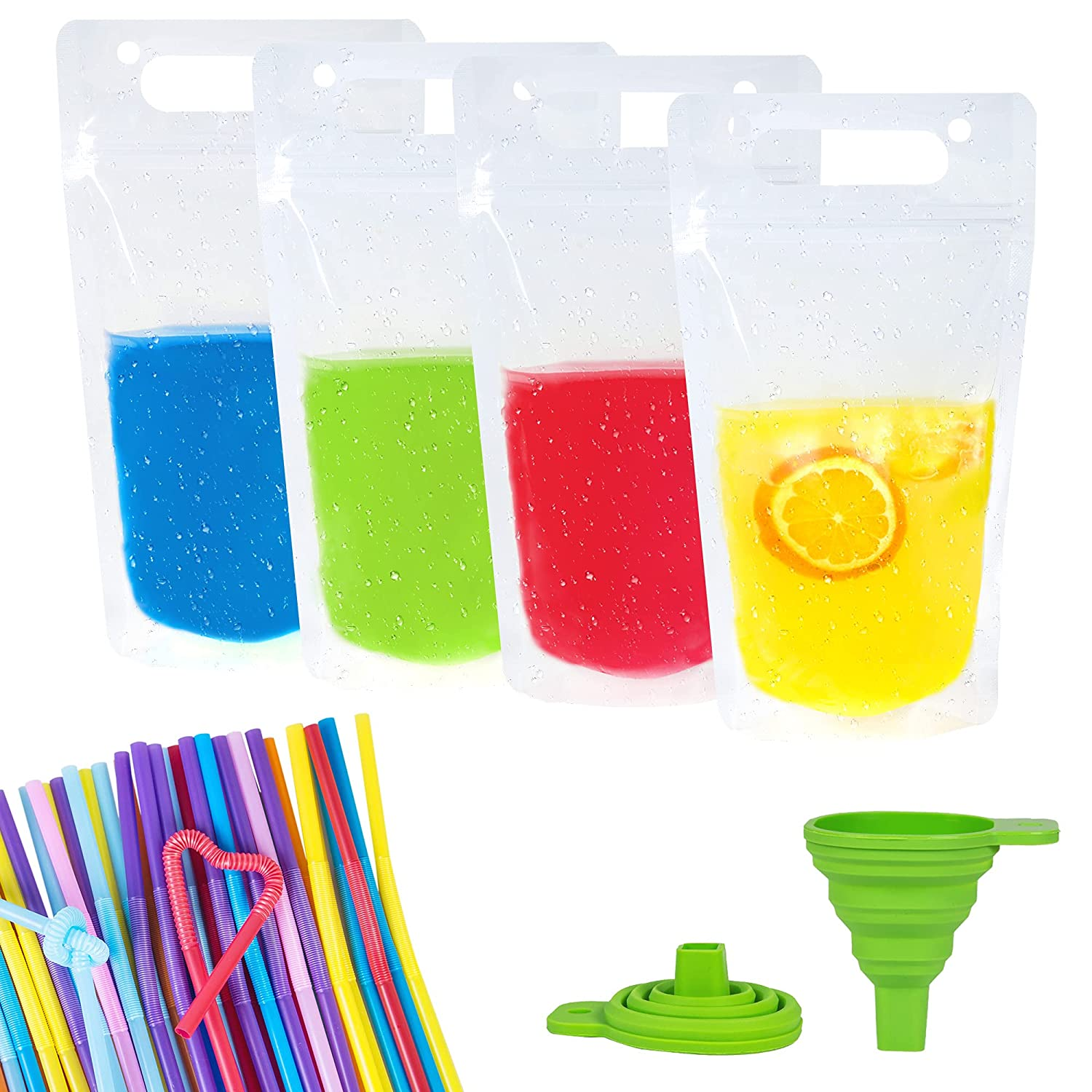 50Pcs Clear Drink Pouches, Hand-held Drink Pouches for Adults with 50 Pcs Straws and Silicone Funnel, 17oz ReusableDrink Bags No Leak Zipper Juice Bags for Cold and Hot Drinks
