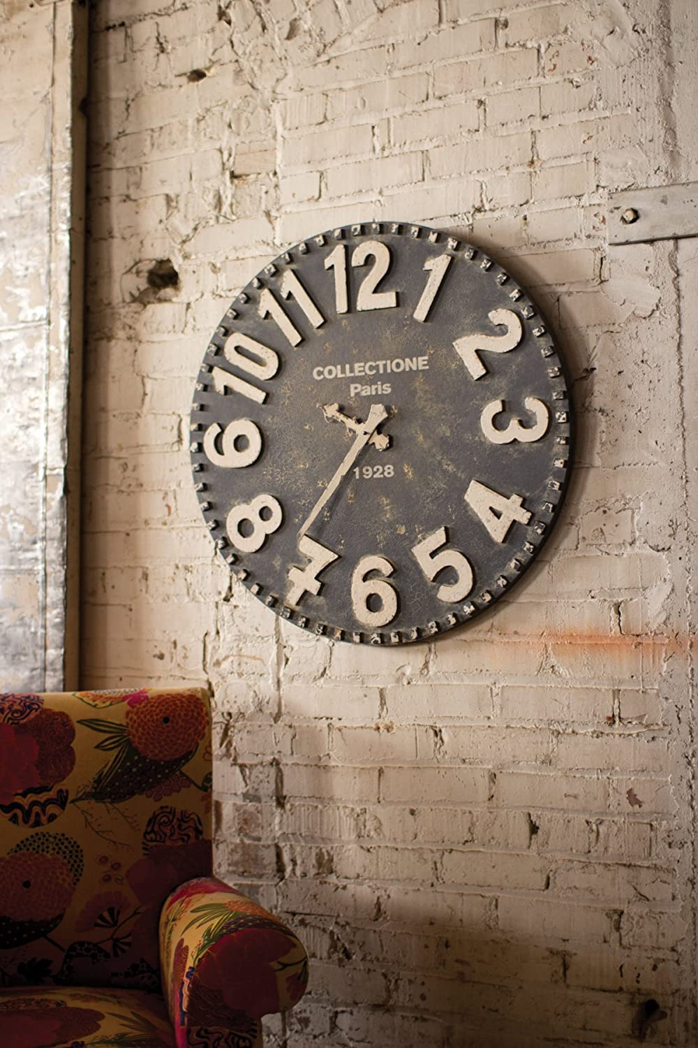 Oversized Vintage Black and White Wall Clock