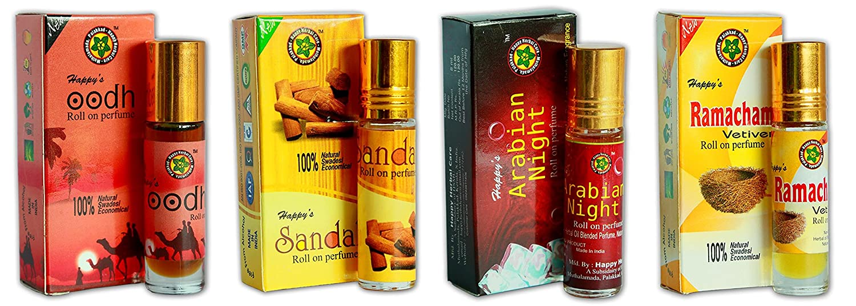 Happy's Roll Perfumes 8 ml - *Combo Offer* for Men & Women - Jasmine, Sandal, Oodh & Bruit Musk