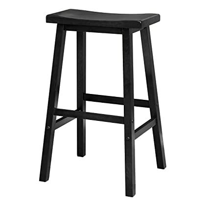 Fine Winsome Wood 29 Inch Saddle Seat Bar Stool Black Amazon In Caraccident5 Cool Chair Designs And Ideas Caraccident5Info