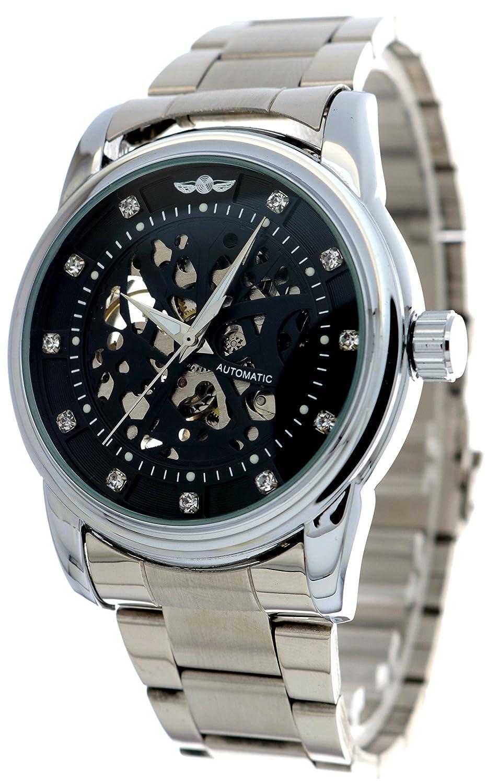 メンズブラックスチームパンク自動巻き自動機械Luxuryステンレススチール腕時計 B01LYW619V