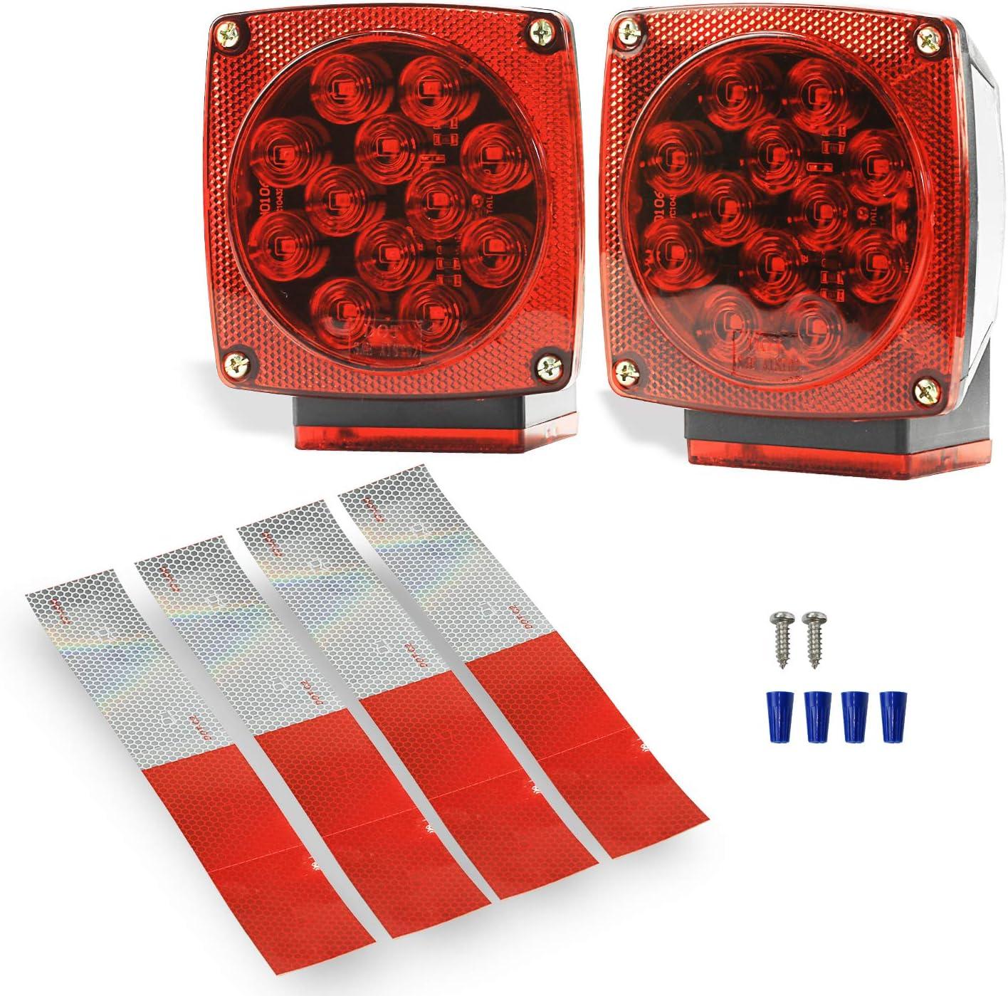 Wellmax LED Trailer Lights 12V Utility Marine Trailer Light Waterproof and DOT Approved Led Boat Trailer Lights Submersible