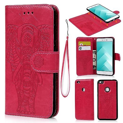 4 opinioni per Cover Huawei P8 Lite 2017, Pelle Premium PU e Silicone TPU Case [2 in 1,