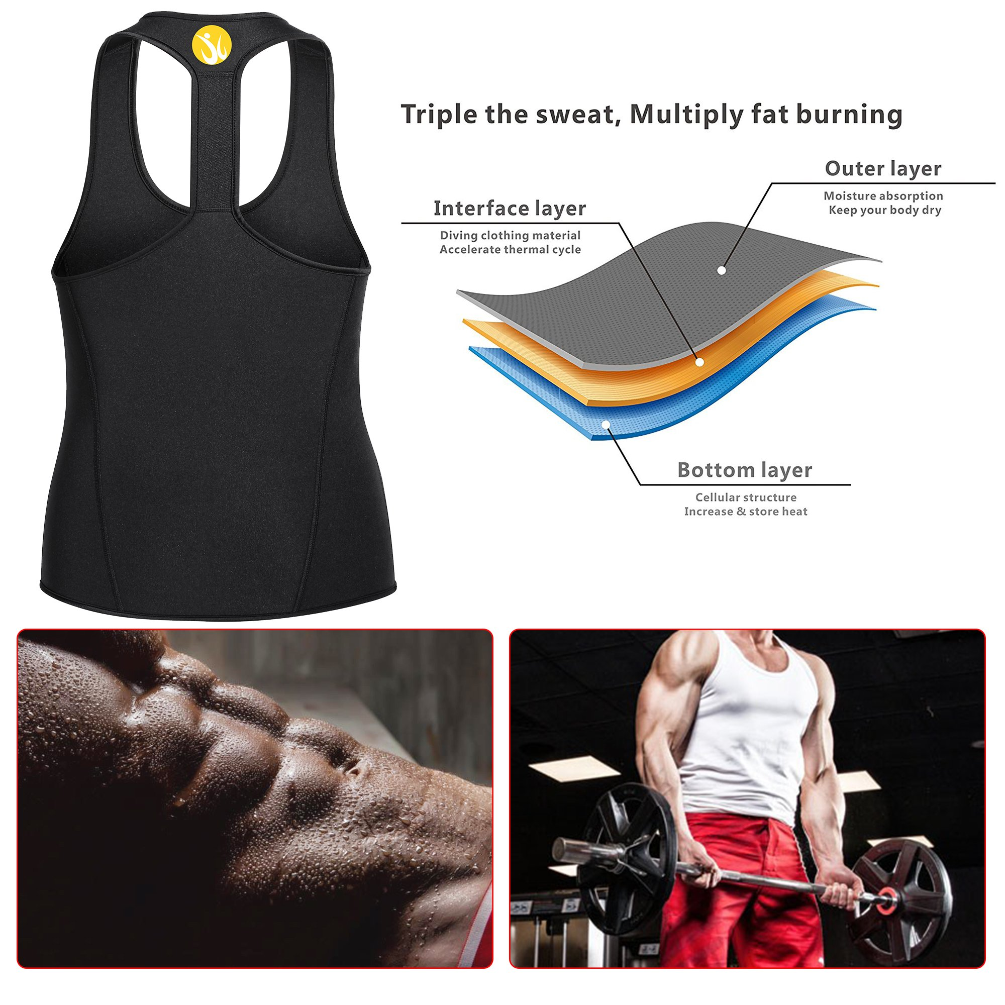 c72c59c1fa4 Junlan Men Workout Tank Top Vest Gym Shirt Weight Loss Dress Waist Body  Shaper Sauna Suit Slim Corset Compression Clothes   Accessories   Sports    Outdoors ...