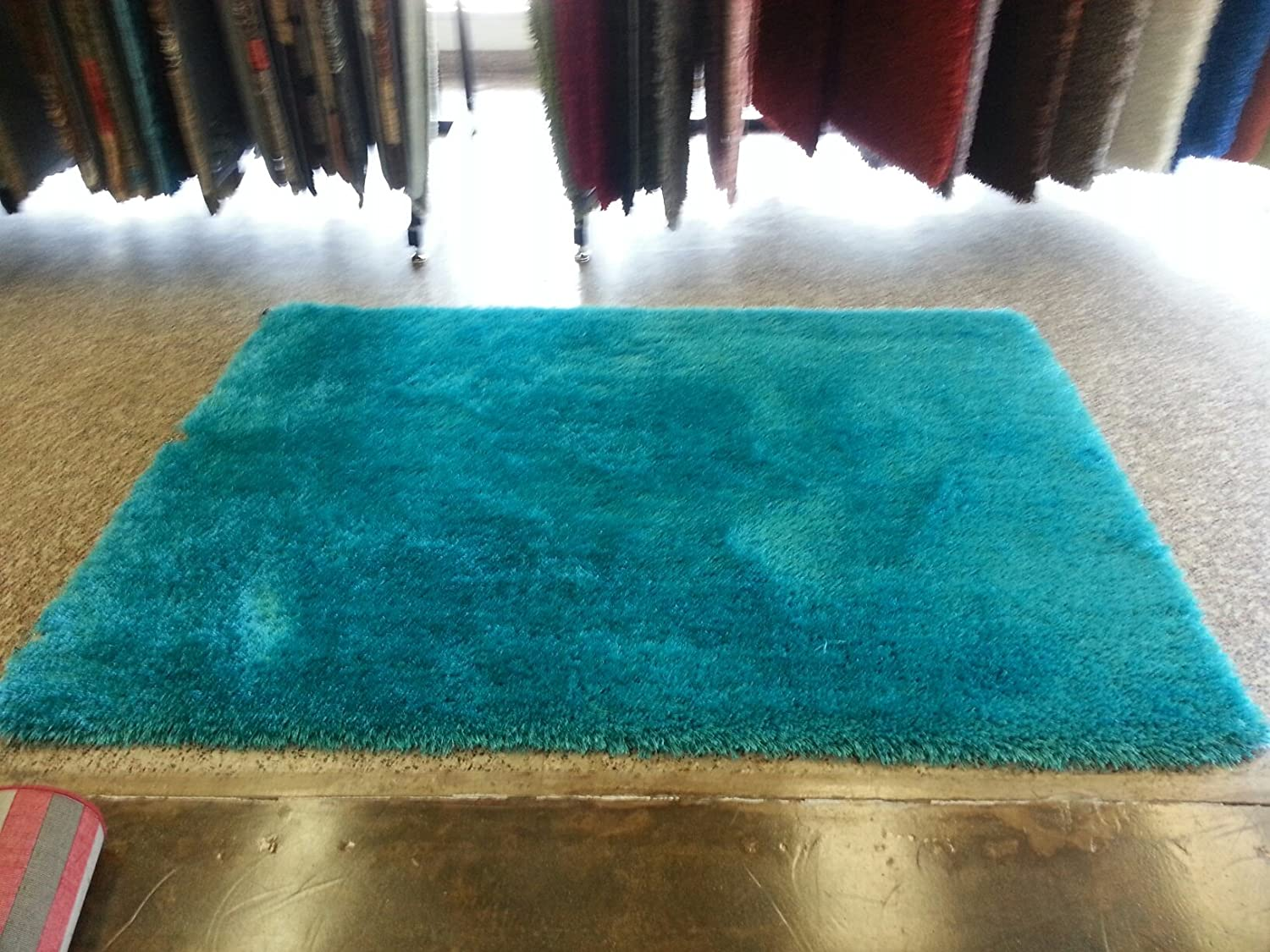 Amazon.com: Shaggy Viscose Solid Collection, Turquoise Solid Area ...