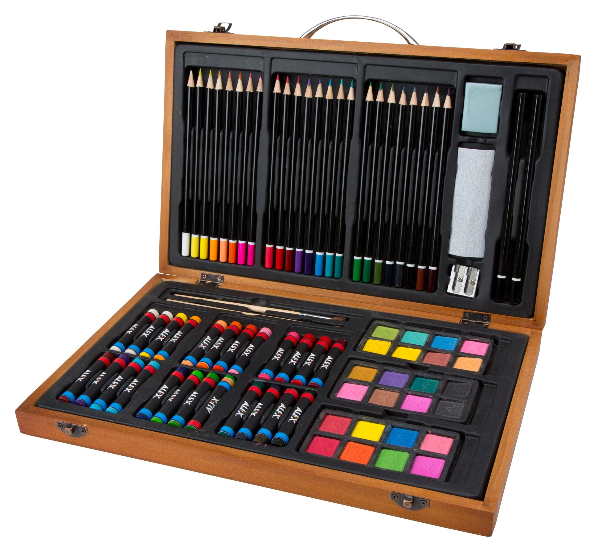ALEX Toys Artist Studio Portable Essential Art Supplies Set with Wood Carrying Case by ALEX Toys