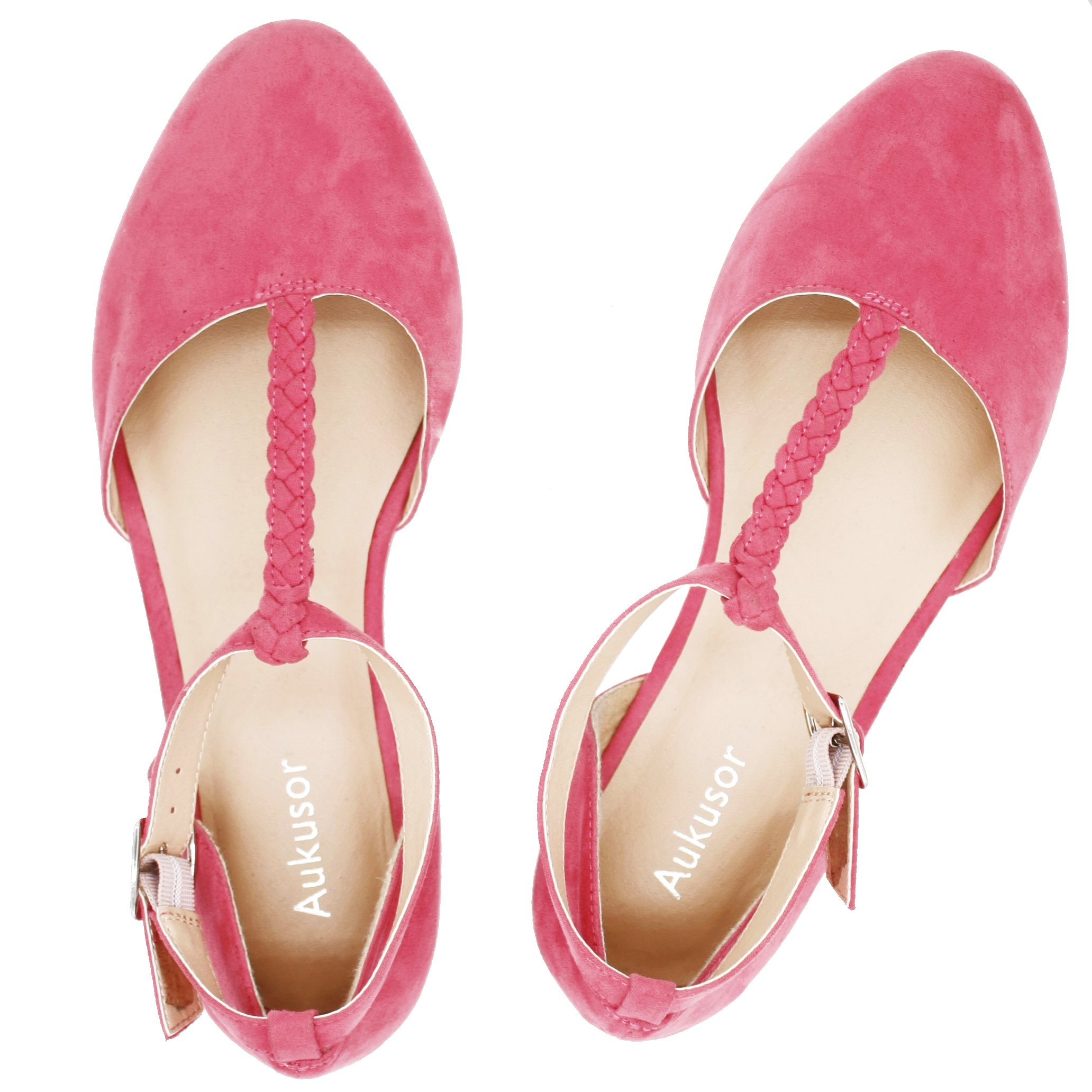 Aukusor Women's Wide Ballet Flat Shoes -T-Strap Comfort Light Pointed Toe Slip on Casual Shoes. (180315 Red 8W)