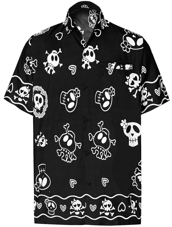 TALLA M - Pecho Contorno (in cms) : 101 - 111. LA LEELA Casual Camisa Hawaiana Manga Corta Bolsillo Delantero Hombre impresión De Hawaii Playa cráneo Halloween Costume XS-7XL
