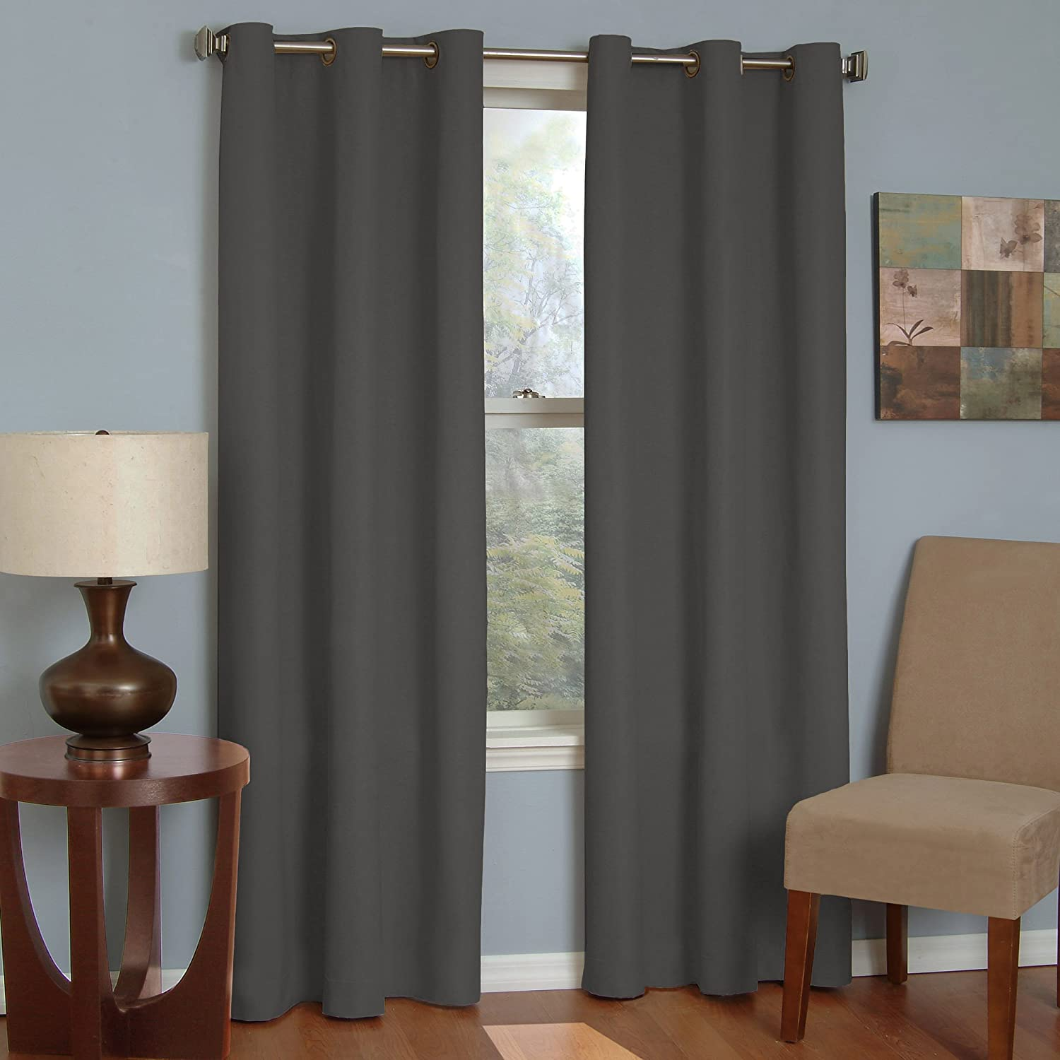 Smoke Ellery Homestyles Eclipse 10708042X095SMK Microfiber 42-Inch by 95-Inch Thermaback Grommet Blackout Single Window Panel