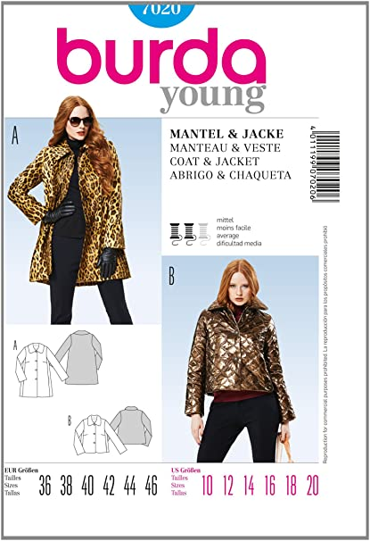 Amazon.com: Burda Style Coat & Jacket sewing pattern 7020 ...