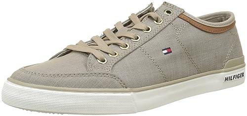 Iconic Long Lace Sneaker, Zapatillas para Hombre, Beige (Cobblestone 068), 45 EU Tommy Hilfiger