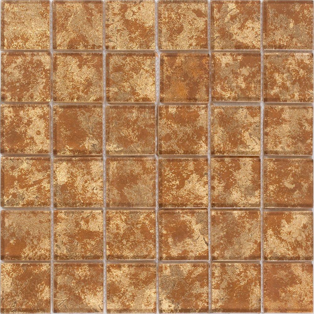 Susan Jablon Mosaics - 2x2 Inch Patina Bronze Metallic Glass Tile