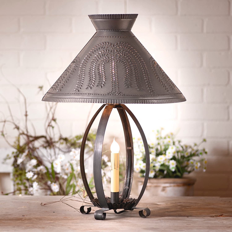 BETSY ROSS blacken punch tin table lamp w//tin STAR shade FREE SHIP