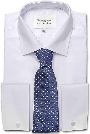 Paradigm Hombre Puño Doble Algodón Puro Sin Plancha Formal Camisas (8501) in Collar Size 14.5 to 23, Light Colores