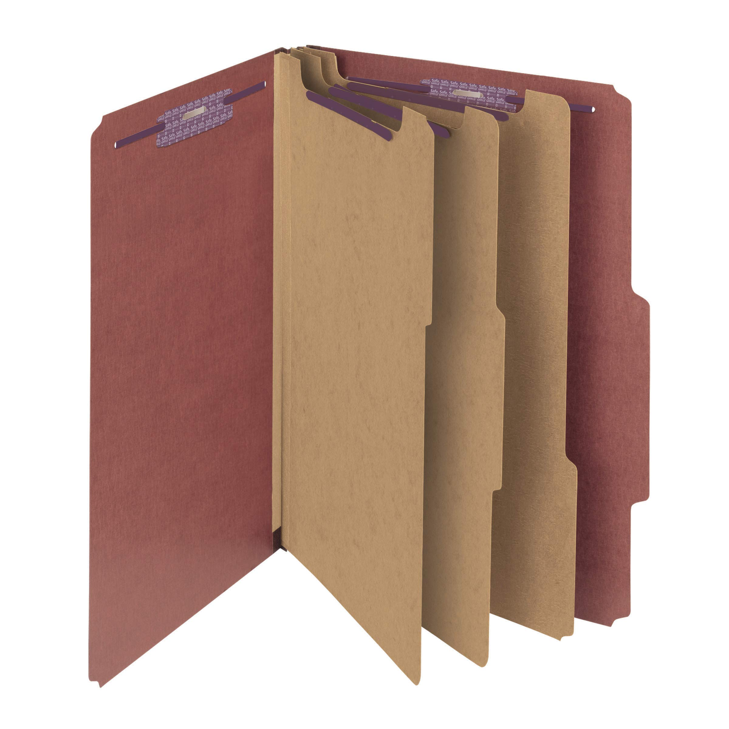 Smead Pressboard Classification File Folder with SafeSHIELD Fasteners, 3 Dividers, 3'' Expansion, Legal Size, Red, 10 per Box (19092) by Smead
