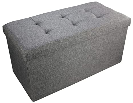 Fine High Living Grey Linen Folding Storage Ottoman Pouffe Seat Foot Stool Storage Box 76Cm X 38Cm X 38Cm Double Alphanode Cool Chair Designs And Ideas Alphanodeonline