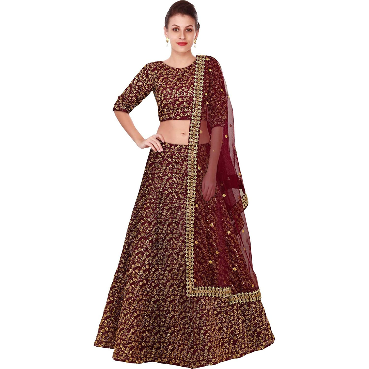 107de7306d FABPIXEL Women's Heavy Sequins Embroidered Raw Silk Semi-Stitched Lehenga  Choli Set (FABP7015, Free Size): Amazon.in: Clothing & Accessories