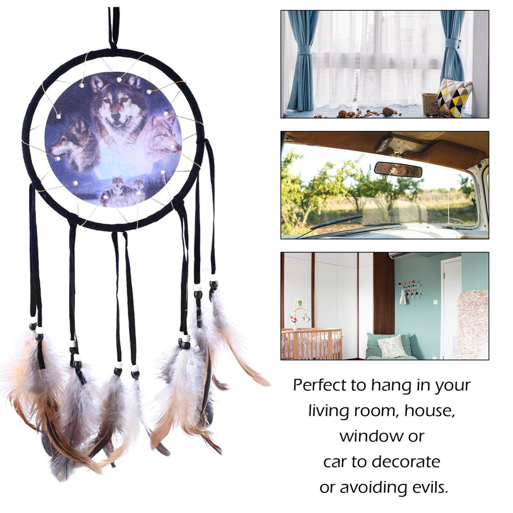 SOLEDI Dream Catcher Black 50cm^15.5cm Wolf Pattern Handmade Traditional Circular Net Home Decor Wall Car Hanging Ornament Gift