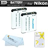 2 Pack Battery Kit For Nikon Coolpix S3700, S2800, S2900, S33, S7000, S6900, S4300, S5200, S6500, S6800, S5300, S3600, S32, W100, A300 Digital Camera Includes 2 Replacement EN-EL19 Batteries + More