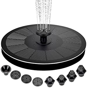 hygger Upgraded Solar Water Fountain, 2.2W Solar Powered Fountain with 7 Different Nozzles & 4 Anti-collision Poles, Floating Solar Fountain Pump for Bird Bath, Garden, Pool, Pond, Outdoor
