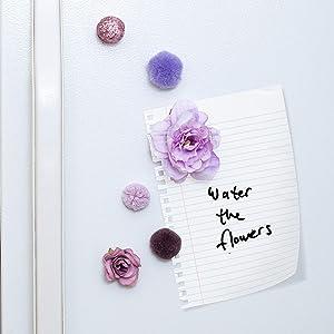 Refrigerator Magnets - Decorative Fridge Magnet Set - 6 Fridge Magnets for Cabinets, Whiteboards & Lockers - Colorful Magnets for Gift, Home Decor & Practical use - Floral Lavender