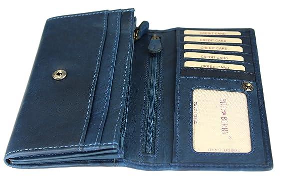 1a53092c7f3d2 Hill Burry hochwertige Vintage Leder Damen Geldbörse Portemonnaie langes Portmonee  Geldbeutel aus weichem Leder in blau - 17
