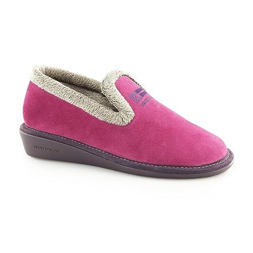 Nordikas - Zapatillas de estar por casa de Piel para mujer rosa fucsia: Amazon.es: Zapatos y complementos