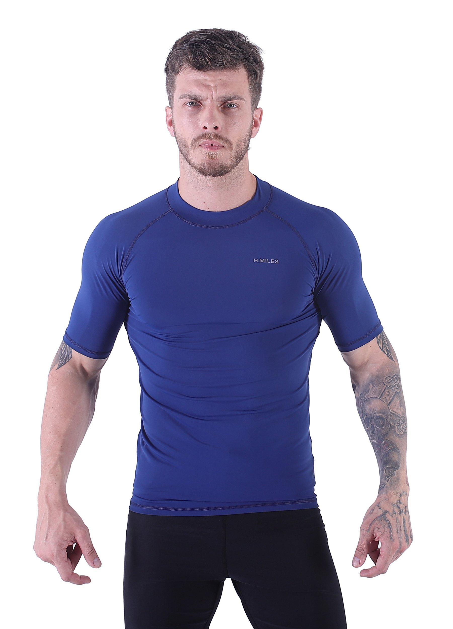 H.MILES Mens UV Protection Rash Guard Swim Shirts Short Sleeve Moisture Wicking Swimming Shirts Workout Swimwear Tops Sapphire-M by H.MILES