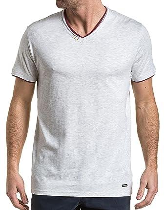 Col Tee Déchiré Homme Shirt V Blanc Legenders Double Chiné bgvYf7y6