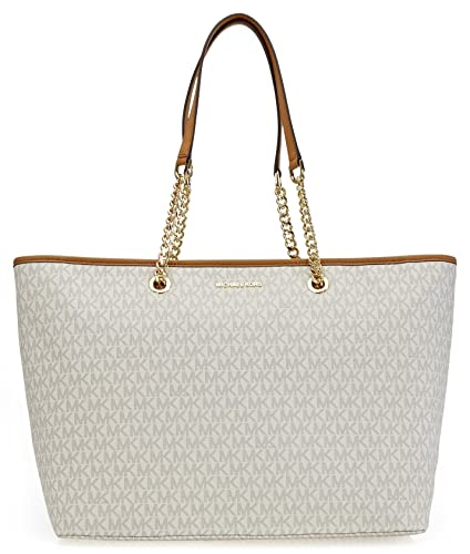 6f11a349f819 Michael Kors Jet Set Travel Chain Signature Tz Tote Vanilla: Handbags:  Amazon.com