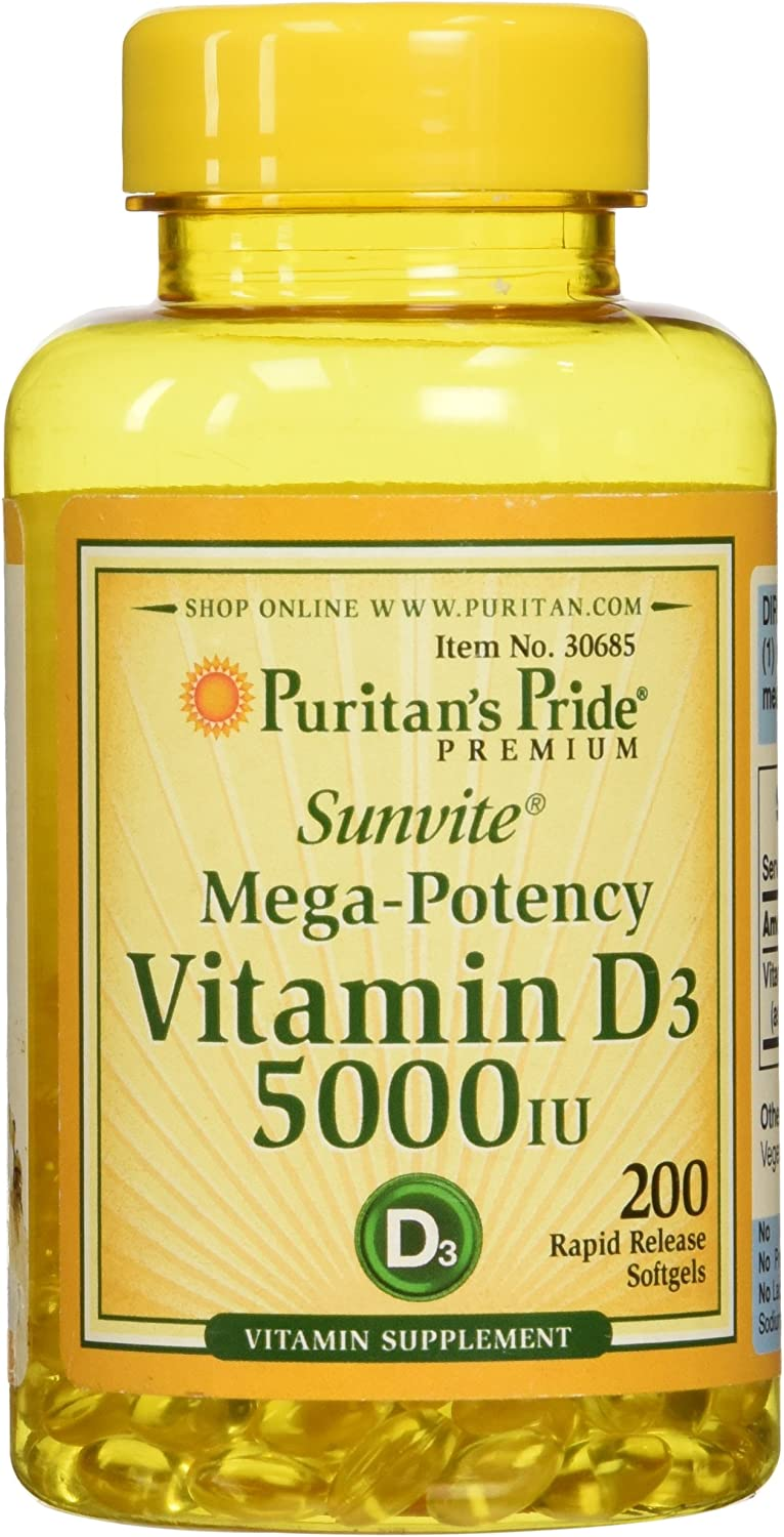 Vitamin D3 5,000 IU Bolsters Immunity by Puritan's Pride for Immune System Support and Healthy Bones and Teeth 100 Softgels
