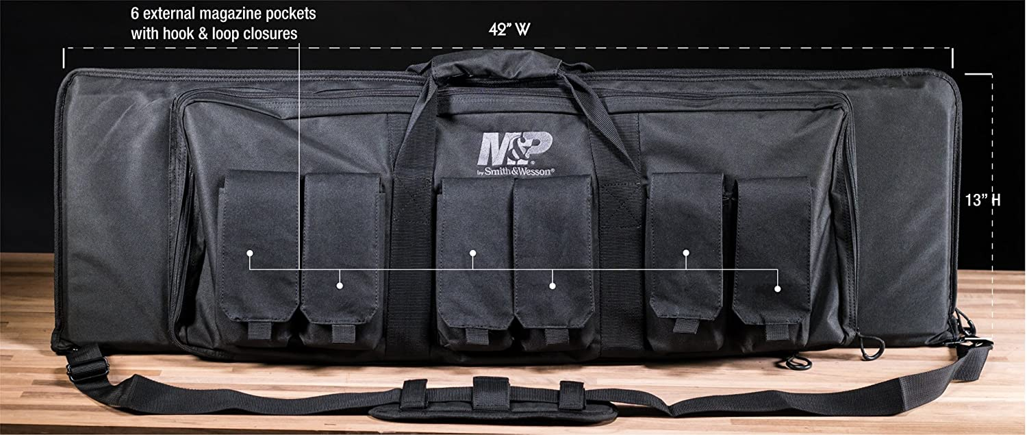 Smith Wesson M P Pro Tac Padded Rifle Case with Ballistic Fabric Construction and External Pockets for Shooting, Range, Storage and Transport