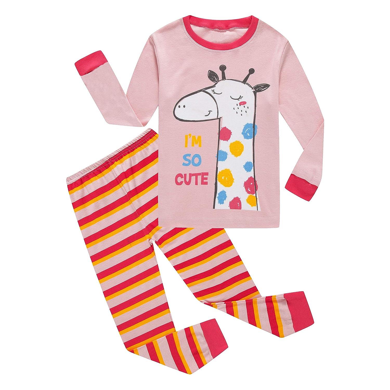 Ecwin Little Boy Pajamas Halloween Glow-in-The-Dark Dinosaur Giraffe Girl Sleepwear Cotton PJS Set