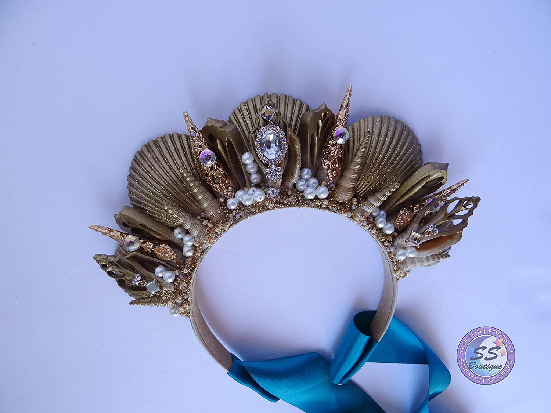 Brown Topaz Green Gold Jewels Sea Shell Mermaid Crown Hair Head Band Beach Boho