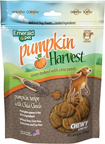 Emerald Pet Pumpkin Harvest Chewy Meat Free Natural Dog Treats, Made in USA