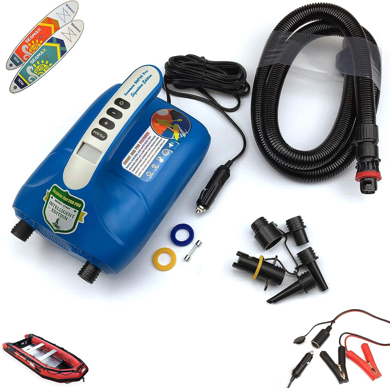 Seamax Bomba de aire eléctrica SUP20D 20PSI de doble etapa para SUP y barco inflables, nueva versión de firmware inteligente con sensor de temperatura integrado y protección de voltaje