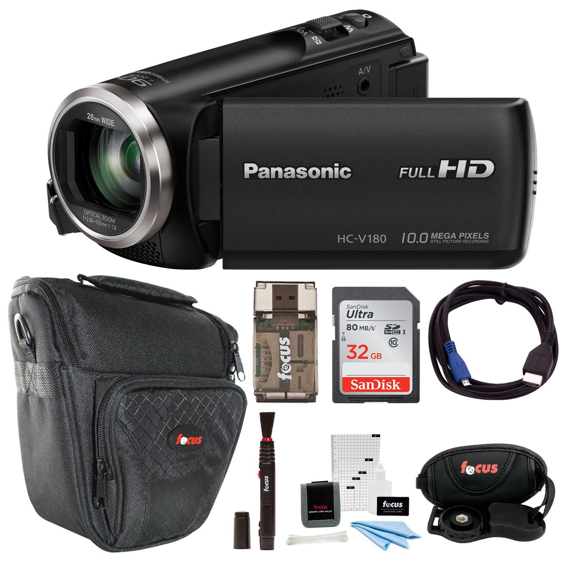 Panasonic HC-V180K Full HD 1080p Camcorder w/ 32GB Accessory Bundle