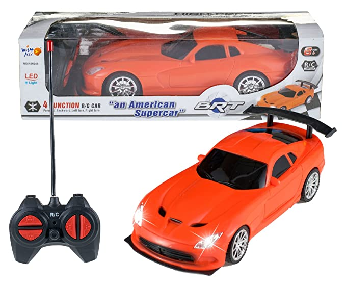 Wish key Plastic Remote Control High Speed Racing American Super Car for Kids  Orange  Radio   Remote Control