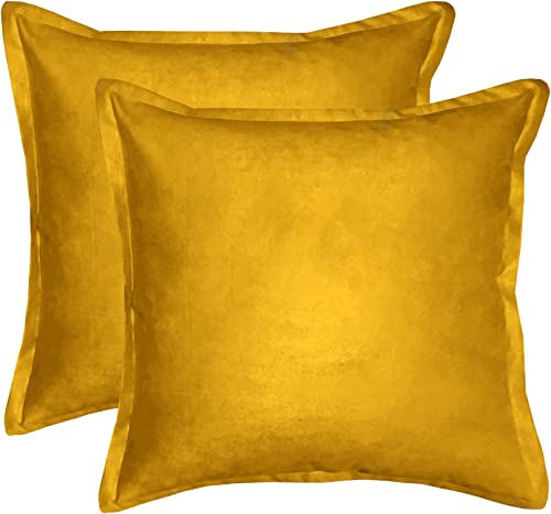 downluxe 2 Piece DL17DPSU02 Solid Faux Suede Decorative Throw Pillow With Zipper, Feather Pillow Included-Super Soft, 20 L x 20 W