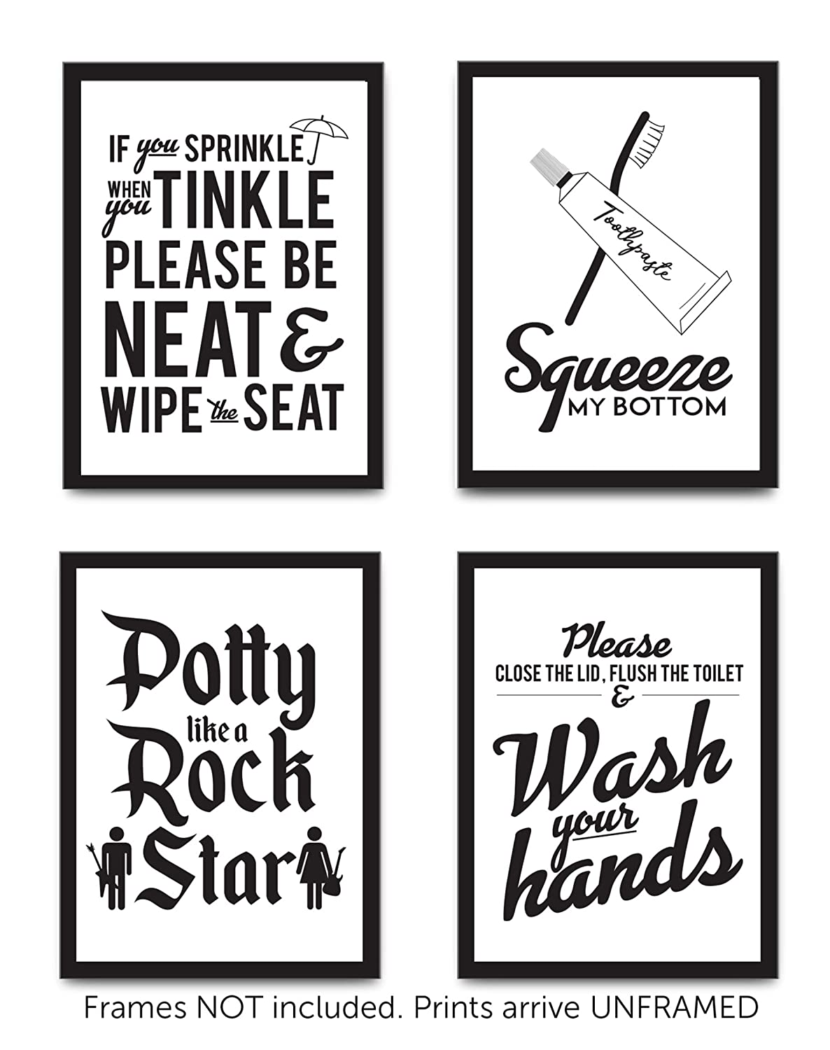 Set of 4 funny bathroom quotes rules unframed best modern toilet decor words letters premium card stock sayings posters 8x10 black white