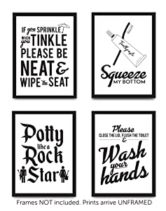 Set of 4 Funny Bathroom Quotes & Rules (UNFRAMED) Best Modern Toilet Decor Words & Letters | Premium Card Stock Sayings Posters | (8x10) Black & White Prints (Option 2)