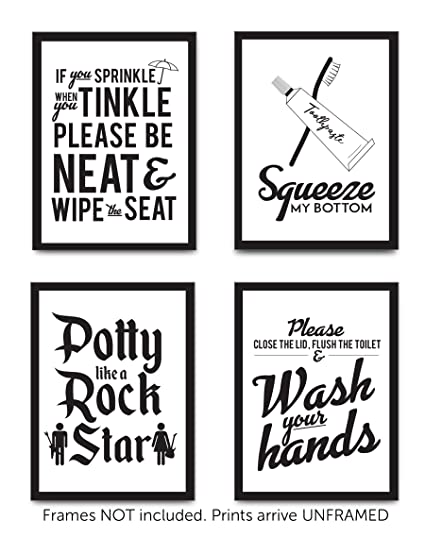 Amazoncom Set Of 4 Funny Bathroom Quotes Rules Unframed Best