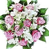 """Lila-weißer Rosenstrauß mit Alstromerien - Blumenstrauß """"Überraschung zum Geburtstag"""""""