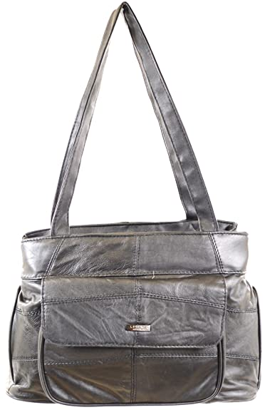 Image Unavailable. Image not available for. Color  Ladies Black Soft Nappa Leather  Handbag   Shoulder Bag with Multiple Pockets 331270c761f38