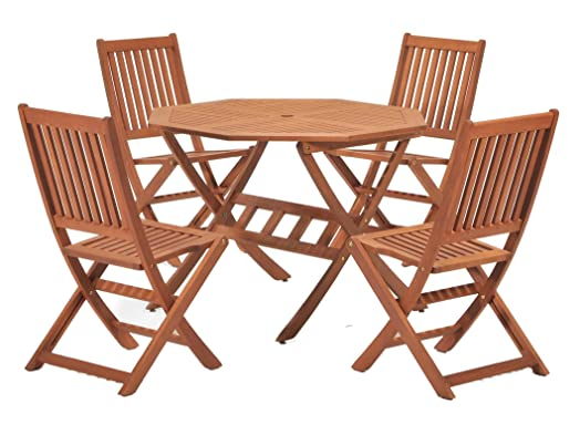 Cotswold FSC Eucalyptus Wood Outdoor 4 Seater Dining Set  with Octangonal  Table  5 Pieces. Cotswold FSC Eucalyptus Wood Outdoor 4 Seater Dining Set  with
