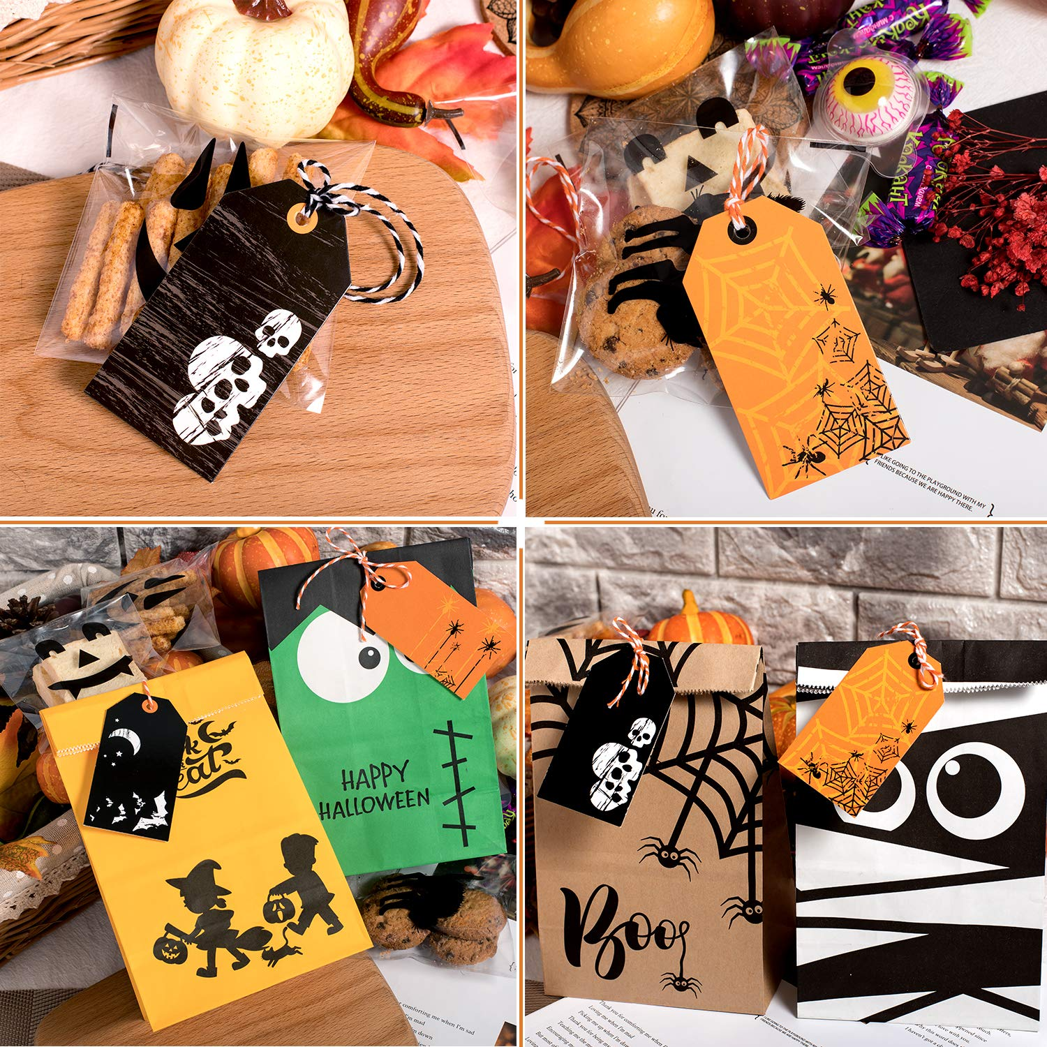 Candy Goodie Bag Art Hanging Cards Whaline 120 Pack Halloween Gift Tags Trick or Treat Craft Label Tags with 130ft Cotton Rope for Halloween Party Favor